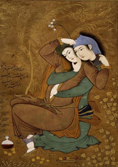Abassi, Riza: The Lovers (Two Lovers). Persian Fine Art Print/Poster. Sizes: A4/A3/A2/A1 (00226)